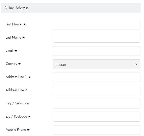 セルティックシープスキン公式サイトで個人輸入、住所を入力。