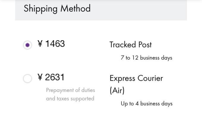 セルティックシープスキン公式サイトで個人輸入、配送方法を選択。
